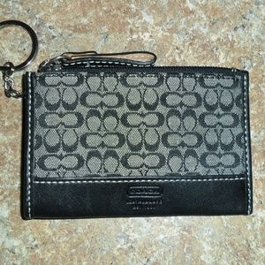 Coach Keyring Wallet in Logo Fabric Black & Grey